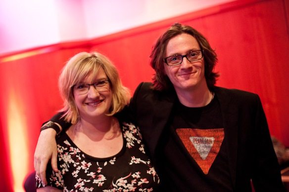 Sarah Millican and Ed Byrne before the show
